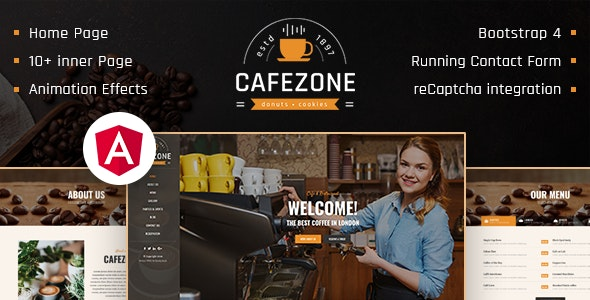 CafeZone: Coffee Shop Restaurant Angular Template - Food Retail