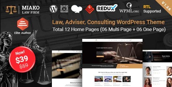 Miako - Lawyer & Law Firm WordPress Theme - Business Corporate