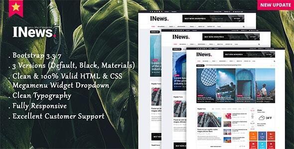 Inews - Modern Responsive Newspaper Template - Creative Site Templates