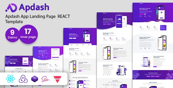 Apdash - App Landing Page React Template - Technology Site Templates