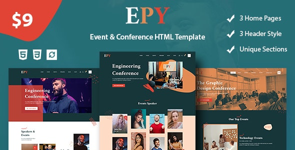 EPY - Event and conference HTML, Bootstrap Template - Events Entertainment