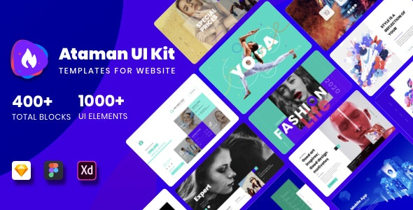 Ataman UI Kit - Templates For Website - Sketch UI Templates