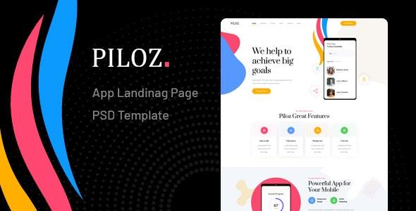 Piloz - App Landing Page PSD Template - Technology Photoshop
