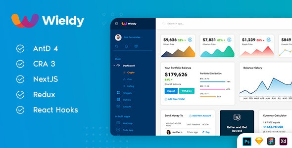 Wieldy - React Admin Template Ant Design and Redux - Admin Templates Site Templates