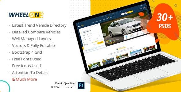 Wheelon -  Cars Dealership and Car Listing PSD Template - Corporate Photoshop
