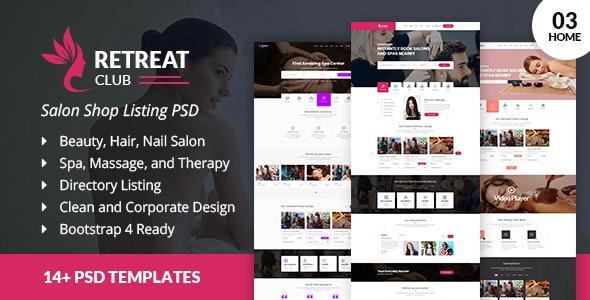 RetreatClub Salon Listing PSD Template - Health & Beauty Retail
