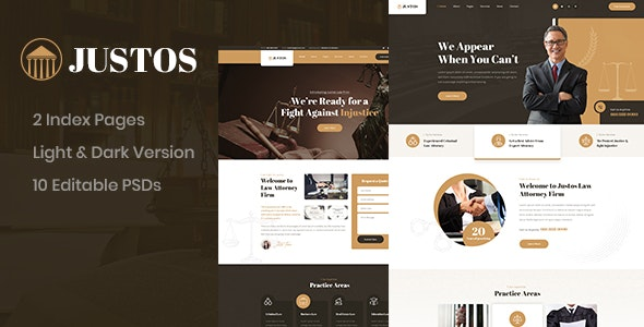 Justos Law Firm PSD Template - Business Corporate