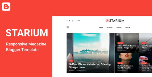 Download Starium - Responsive News & Magazine Blogger Template