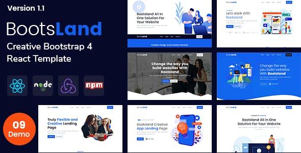 Bootsland - React Creative Landing Page