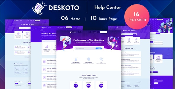Deskoto - HelpDesk and Knowledge Base PSD Template - Software Technology