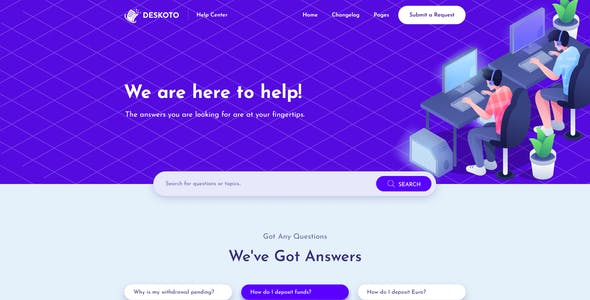 Deskoto - HelpDesk and Knowledge Base PSD Template