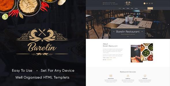 Barelin Restaurant Html Templates - Restaurants & Cafes Entertainment