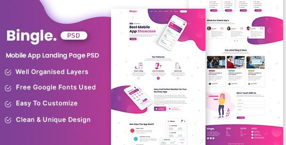 Bingle - Mobile App Landing Page PSD Template - Technology Sketch