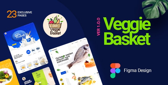 VeggieBasket | A Online Vegetable, Fish, Meat, Dairy Product and Wine Shop Figma Template - Shopping Retail