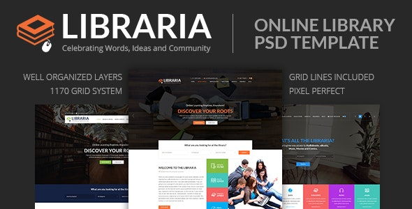 LIBRARIA – Online Library PSD Template - Corporate Photoshop