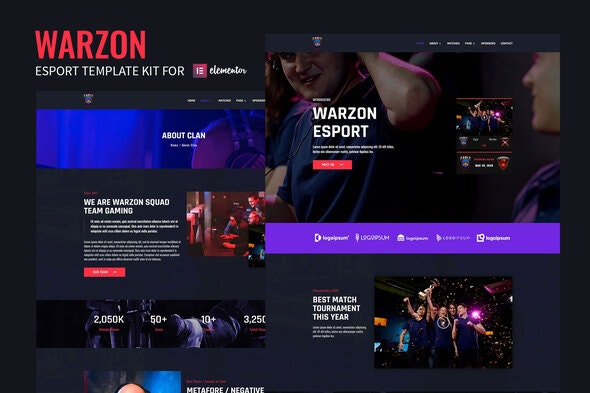 Warzon - Esport Elementor Template Kit - Technology & Apps Elementor