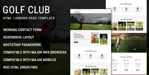 Golf Club - Multipurpose Responsive HTML Landing Page Template - Landing Pages Marketing