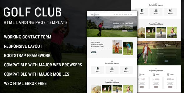 Golf Club - Multipurpose Responsive HTML Landing Page Template