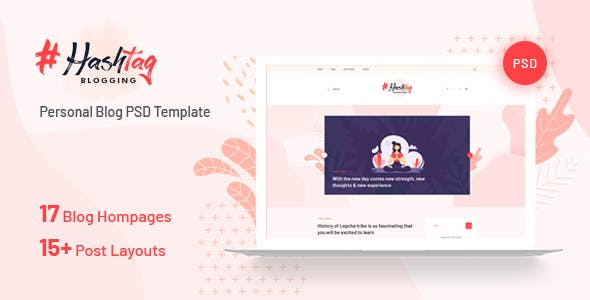 Hashtag - Personal Blog PSD Template