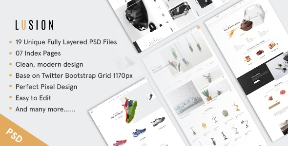 Lusion - Multipurpose eCommerce PSD Template - Retail Photoshop