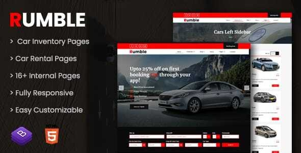 Rumble - Car Rental Booking HTML Template - Travel Retail