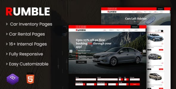 Rumble - Car Rental Booking HTML Template