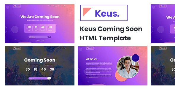 Keus - Creative Coming Soon HTML5 Template - Under Construction Specialty Pages