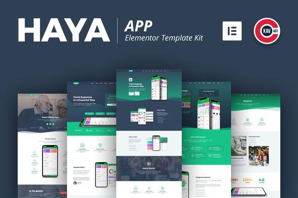 Haya - App Template Kit - Technology & Apps Elementor