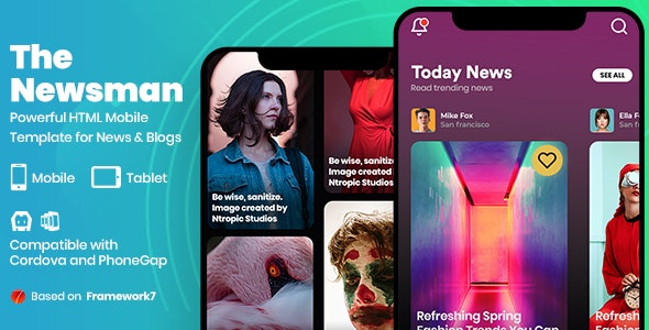 Newsman - News & Magazine Mobile Template - Mobile Site Templates
