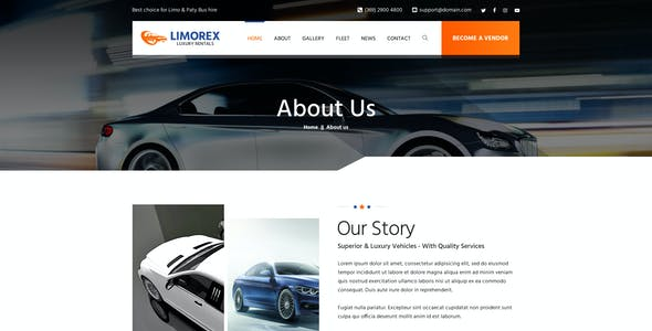 Limorex: Luxury Transport And Car Hire PSD Template