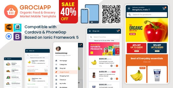 Grociapp - Organic Food & Grocery Market Mobile Template - Mobile Site Templates