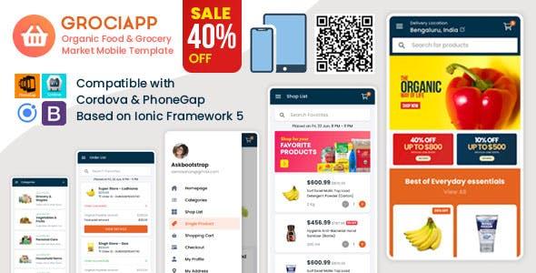 Download Grociapp - Organic Food & Grocery Market Mobile Template