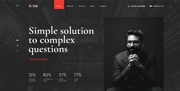 Zeus - Lawyers and Law Firm PSD Template - Business Corporate
