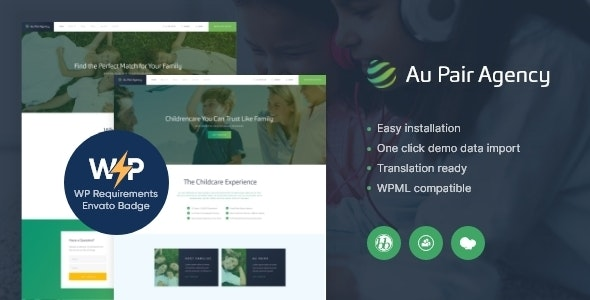 Au-Pair - Babysitting & Nanny Agency WordPress Theme - Business Corporate