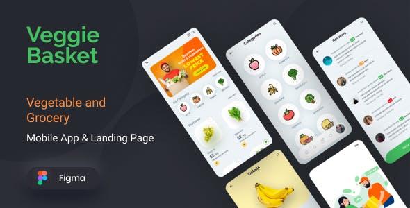 VeggieBasket   Mobile App and Landing Page Figma Template