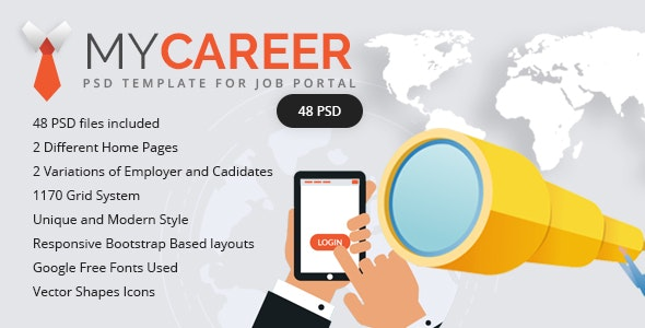 My Career – Clean & Unique PSD Template - Corporate Photoshop