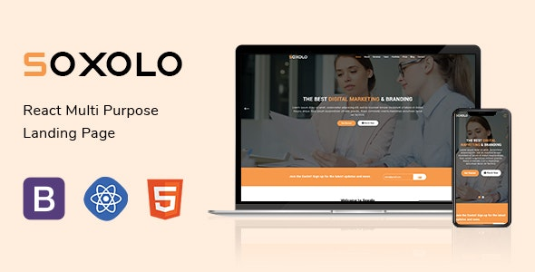 Soxolo - React Multipurpose Landing Page Template - Marketing Corporate
