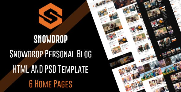 Snowdrop - Personal Blog HTML5 Template + PSD