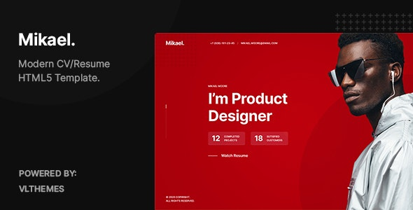 Mikael - Modern & Creative CV/Resume HTML5 Template - Virtual Business Card Personal