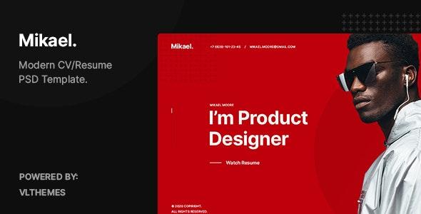 Mikael – Modern & Creative CV/Resume PSD Template - Virtual Business Card Personal