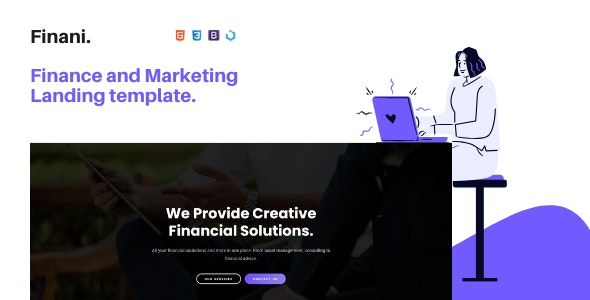 Finani — Finance and Marketing Landing Template - Landing Pages Marketing