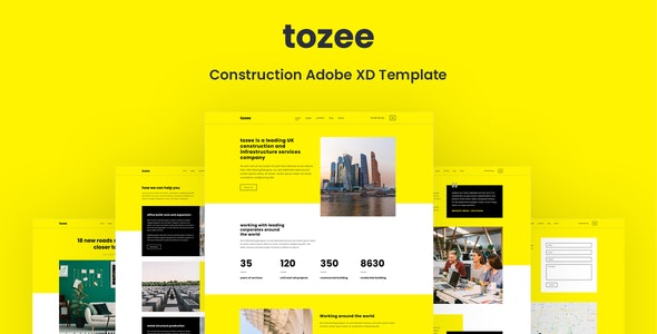 Tozee - Construction Adobe XD Template - Business Corporate
