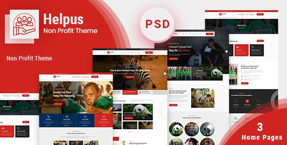 Helpus - NonProfit Charity PSD Template - Charity Nonprofit