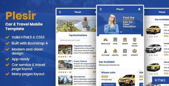 Plesir - Car & Travel Mobile Template - Mobile Site Templates