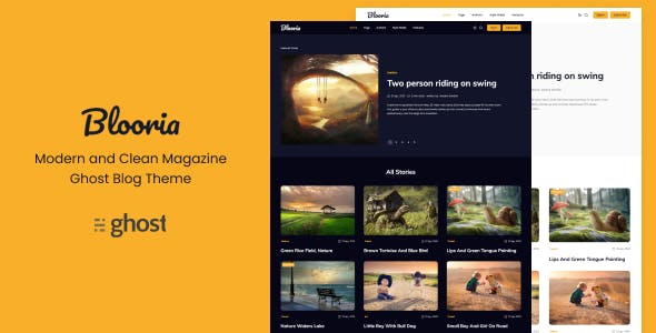 Download Blooria - Modern and Clean Magazine Ghost Blog Theme