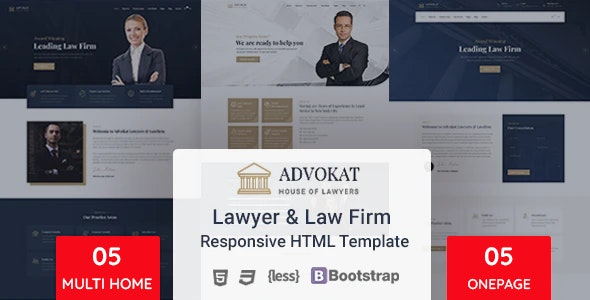 Advokat - Lawyer & Lawfirm HTML Template - Corporate Site Templates