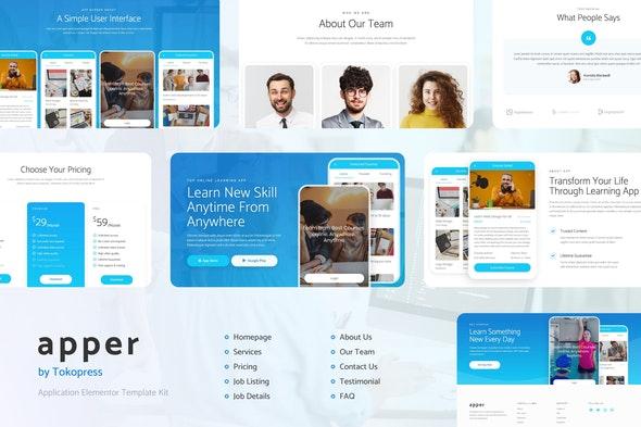 Apper - App SaaS Elementor Template Kit - Technology & Apps Elementor