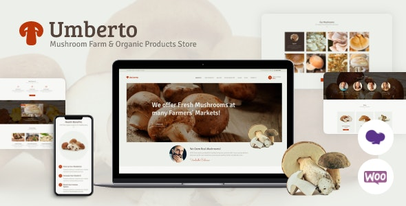 Umberto - Mushroom Farm & Organic Products Store WordPress Theme - Food Retail