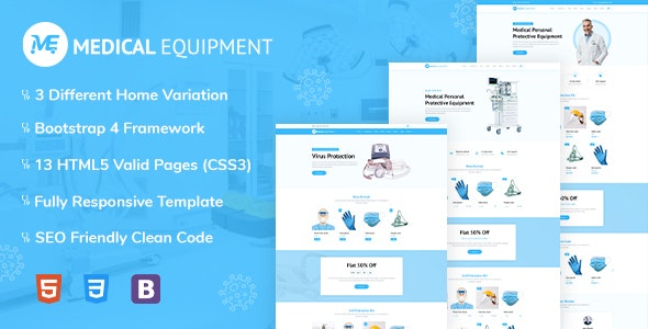 Medical Equipment - PPE Kit Responsive HTML Template - Site Templates