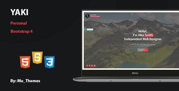 Yaki - Modern personal Template - Personal Site Templates
